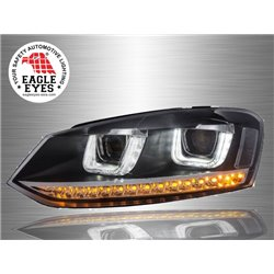 VOLKSWAGEN POLO MK5 2009 - 2017 EAGLE EYES U-Concept LED Starline Sequential Projector Head Lamp [HL-147-1]