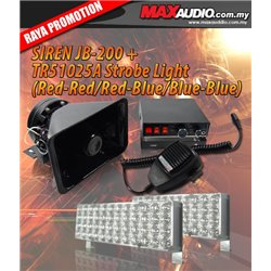 CJB-200 200W RMS 5 Tone Talking Siren Light Control Box + TYPE-R TR-51025A 48 LED Adjustable Flashing Strobe Light