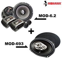 "2 in 1 Package - MOHAWK DIAMOND MOD-6.2 6.5"" 2-Way Component Speaker + MOD-693 6""x9"" 3-Way Mid Bass Speaker Set"