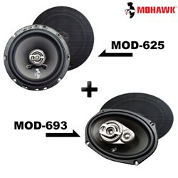 "2 in 1 Package - MOHAWK DIAMOND MOD-625 6.5"" 2-Way Coaxial Speaker + MOD-693 6""x9"" 3-Way Mid Bass Speaker Set"